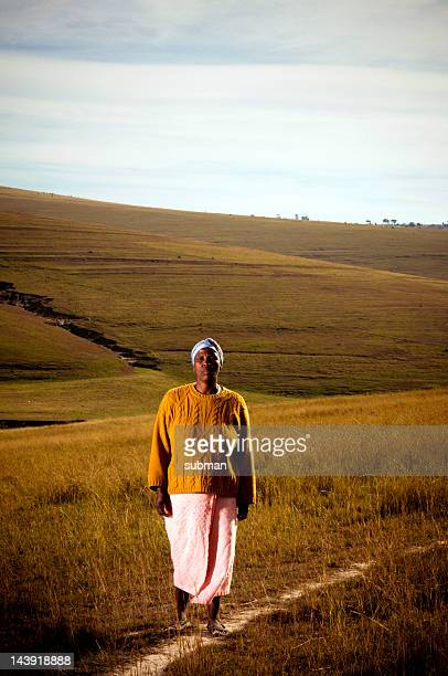 xhosa woman in grasslands - xhosa culture stock photos and pictures