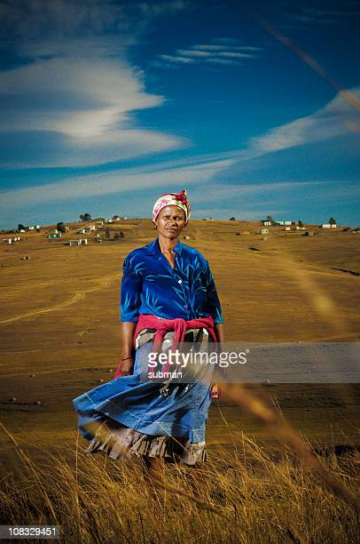 xhosa woman in rural area - south african culture stock photos and pictures