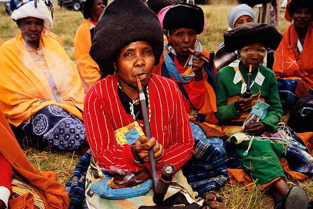 Xhosa Women Smoking Traditional Pipes