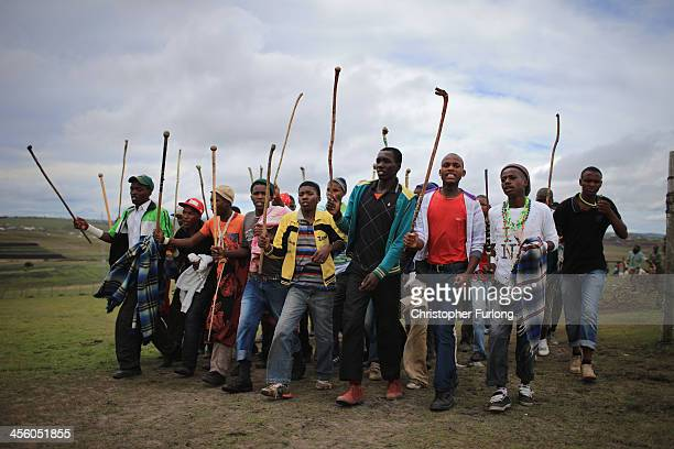 Xhosa youths take part in a manhood ceremony in Qunu ahead of the funeral of Nelson Mandela on December 13 2013 in Qunu South Africa Mandela passed...