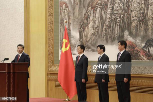 Xi Jinping China's president and general secretary of the Communist Party of China from left stands at the podium as other members of the Communist...