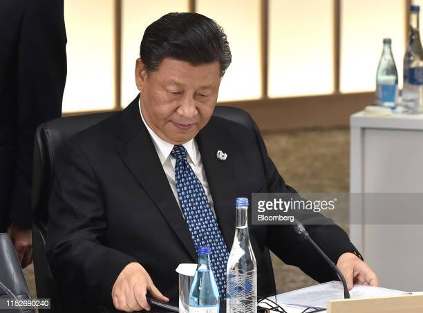 Xi Jinping, China's president, attends a session at the Group of 20 summit in Osaka, Japan, on Saturday, June 29, 2019. Disputes over wording on...