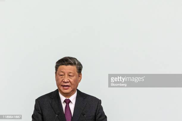 Xi Jinping China's president gives a speech during an inauguration ceremony in Macau China on Friday Dec 20 2019 Xi praised the work of Macau's...