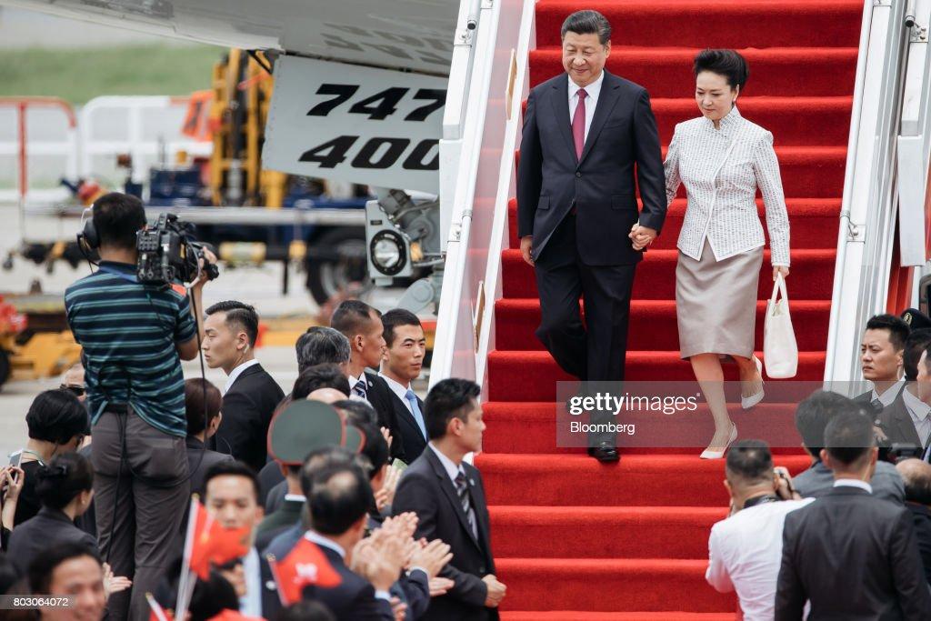 China's President Xi Jinping Arrives In Hong Kong : News Photo