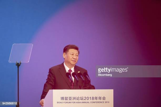 Xi Jinping China's president pauses while giving a speech at the Boao Forum for Asia Annual Conference in Boao China on Tuesday April 10 2018...