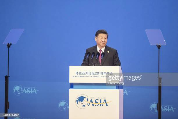 Xi Jinping China's president prepares to speak at the Boao Forum for Asia Annual Conference in Boao China on Tuesday April 10 2018 Xi vowed to open...