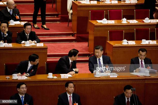 Xi Jinping China's president second row second right speaks with Li Zhanshu member of the Communist Party of China's Politburo Standing Committee...