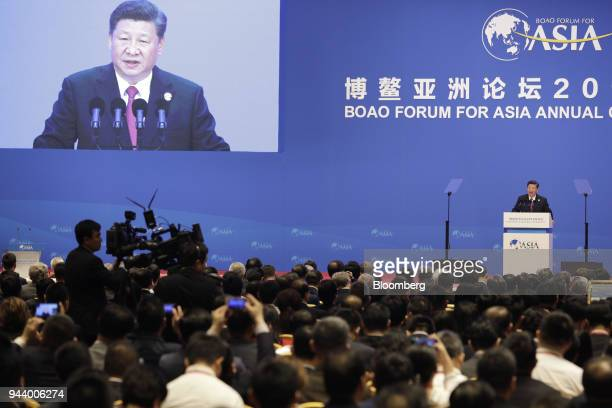 Xi Jinping China's president speaks at the Boao Forum for Asia Annual Conference in Boao China on Tuesday April 10 2018 Xi vowed to open sectors from...