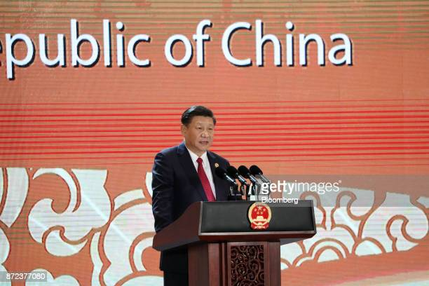 Xi Jinping China's president speaks during the AsiaPacific Economic Cooperation CEO Summit in Danang Vietnam on Friday Nov 10 2017 China will...