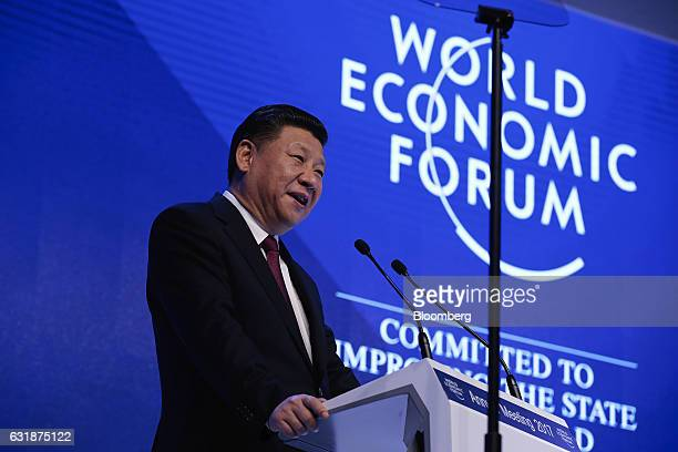 Xi Jinping China's president speaks during the opening plenary session of the World Economic Forum annual meeting in Davos Switzerland on Tuesday Jan...