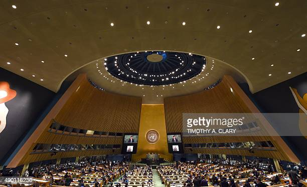Xi Jinping President of China speaks at the United Nations Sustainable Development Summit during the United Nations General Assembly in New York on...
