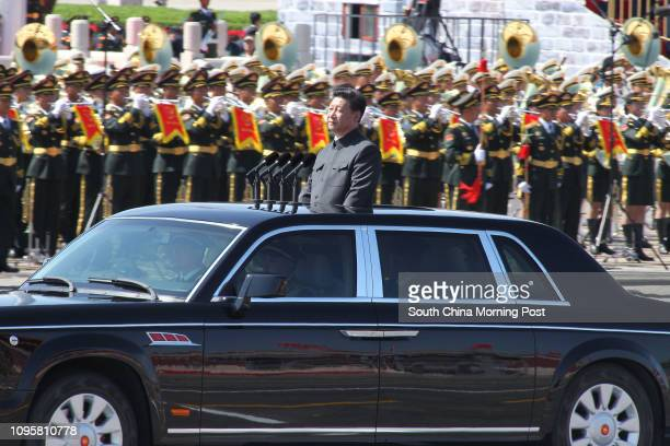 Xi Jinping reviews the parade soldiers at the military parade for the Commemorations of the 70th Anniversary of the Victory of the Chinese People's...