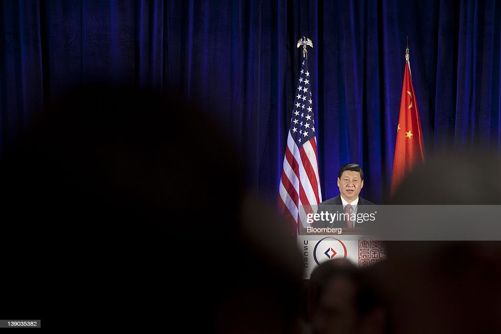 Xi Jinping, vice president of China, speaks during a luncheon of the U.S.-China Business Council in Washington, D.C., U.S., on Wednesday, Feb. 15, 2012. Xi yesterday told a roundtable with business executives at the U.S. Chamber of Commerce in Washington that the two sides must make an effort to more 'effectively prevent politicizing economic issues and avoid various kinds of undue interference.' Photographer: Andrew Harrer/Bloomberg via Getty Images