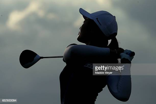 Xi Yu Lin of China hits a tee shot on the eighteenth hole during round three of the Pure Silk Bahamas LPGA Classic on January 28 2017 in Paradise...
