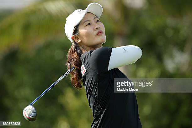 Xi Yu Lin of China hits a tee shot on the fourth hole during round two of the Pure Silk Bahamas LPGA Classic on January 27 2017 in Paradise Island...