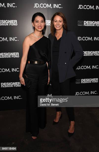 Xia Ding and Caroline Rush attend the BFC Vogue Fashion Fund and JD.COM cocktail party hosted by Caroline Rush and Xia Ding at the Mandrake Hotel on...