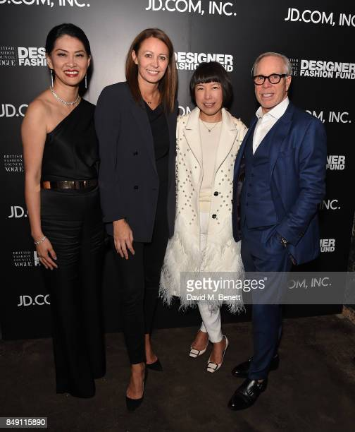 Xia Ding, Caroline Rush, Angelica Cheung and Tommy Hilfiger attend the BFC Vogue Fashion Fund and JD.COM cocktail party hosted by Caroline Rush and...