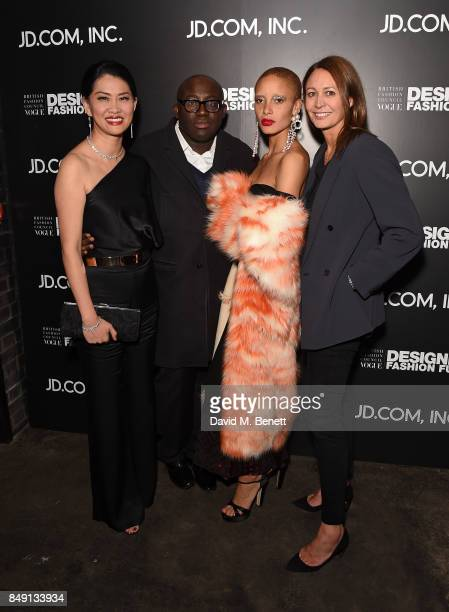 Xia Ding, Edward Enninful, Adwoa Aboah and Caroline Rush attend the BFC Vogue Fashion Fund and JD.COM cocktail party hosted by Caroline Rush and Xia...