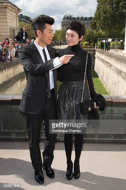 Xia Yu and Yuan Quan arrive at the Christian Dior Spring / Summer 2013 show as part of Paris Fashion Week on September 28, 2012 in Paris, France.