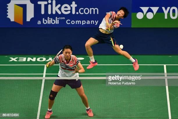 Xia Yuting and Zhang Shuxian of China compete against Jauza Fadhila Sugiarto and Ribka Sugiarto of Indonesia during Women's Doubles Semifinal match...