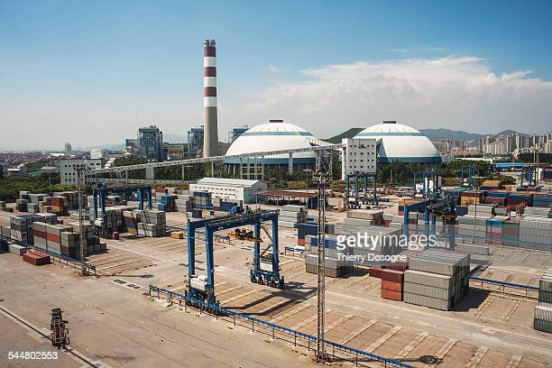 xiamen port in china. dock and industry - fujian stock photos and pictures