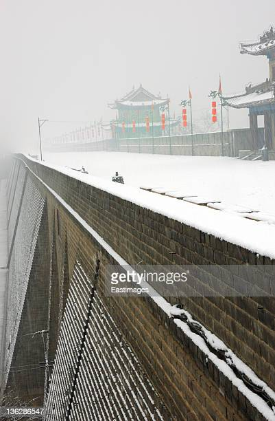 xi'an city wall in snow,china