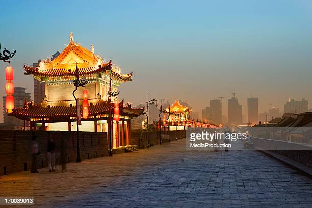 xian city wall - fortified wall stock photos and pictures