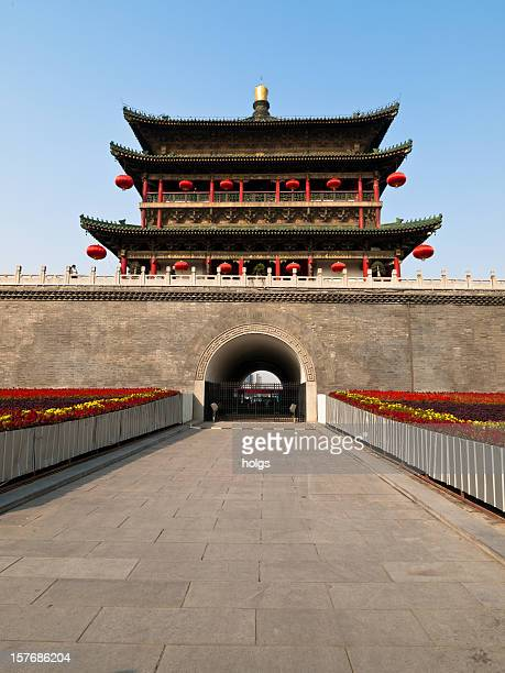 xian city walls - bell tower tower stock pictures, royalty-free photos & images