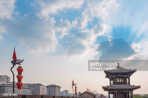 xi'an fortified city wall and defensive tower - pagoda stock pictures, royalty-free photos & images