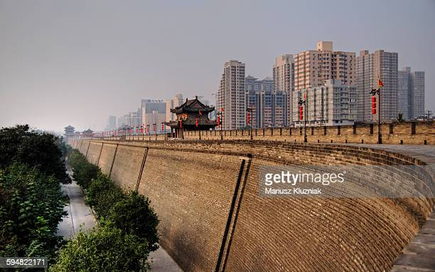 Xi'an huge fortification walls and modern city