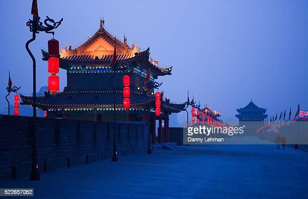 Xian Old City Wall at Dusk