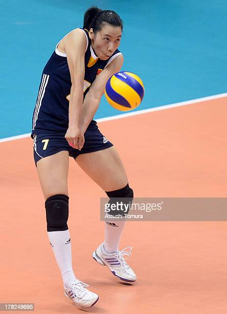 Xian Zhang of China in action during day one of the FIVB World Grand Prix Sapporo 2013 match between Serbia and China at Hokkaido Prefectural Sports...