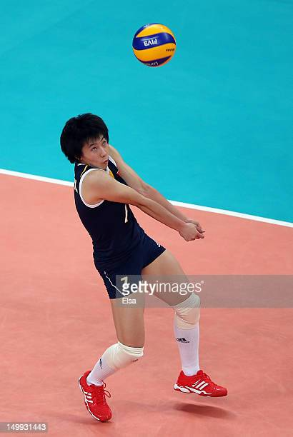 Xian Zhang of China passes the ball in the second set against Japan during Women's Volleyball on Day 11 of the London 2012 Olympic Games at Earls...