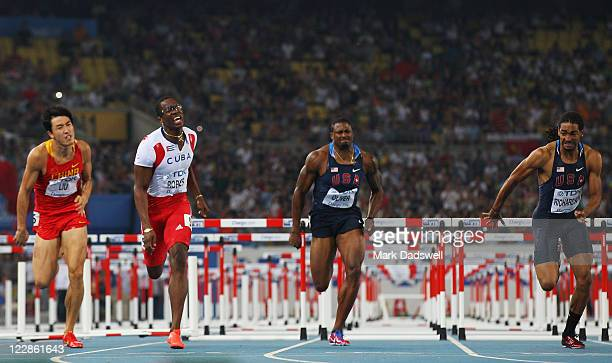 Xiang Liu of China, Dayron Robles of Cuba, David Oliver of United States and Jason Richardson of United States compete in the men's 110 metres...
