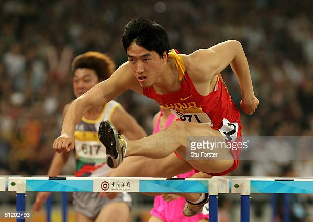 Xiang Liu of China in action during the heats of the Mens 110 Metres Hurdles during Day One of the Good Luck Beijing 2008 China Athletics Open at The...