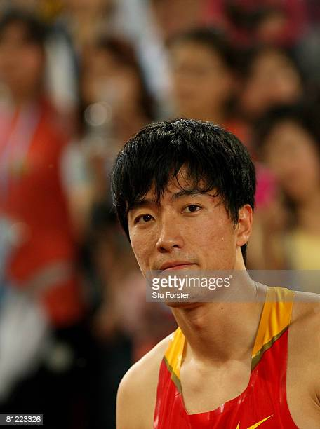 Xiang Liu of China looks on after winning the Men's 110 Metres Hurdles during day three of the Good Luck Beijing 2008 China Athletics Open at the...