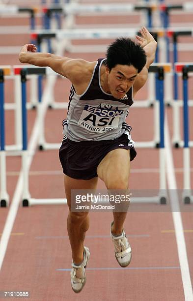 Xiang Liu of China races to the finnish line in the 110m Hurdles event during the 10th IAAF World Cup in Athletics on September 17 2006 at the...