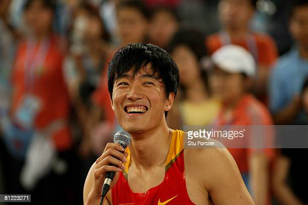 Xiang Liu of China speaks to the crowd after winning the Men's 110 Metres Hurdles during day three of the Good Luck Beijing 2008 China Athletics Open...