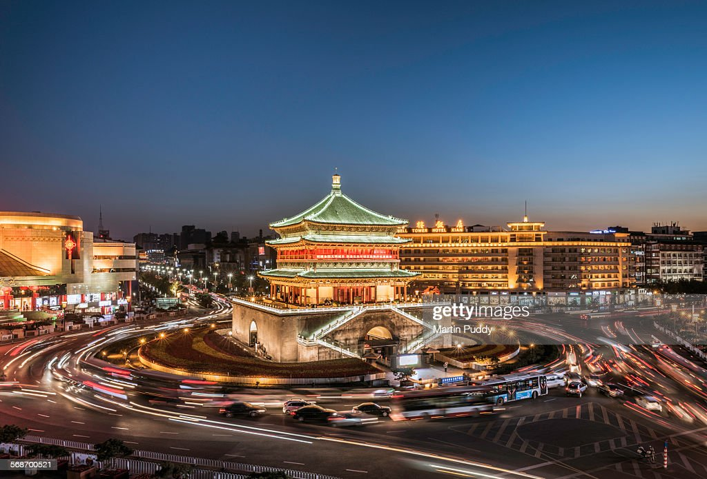 Xian,The Bell tower at dusk,with passing traffic : Stock Photo