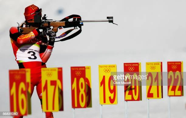 Xianying Liu of China shoots during the Womens Biathlon 15km Individual Final on Day 3 of the 2006 Turin Winter Olympic Games on February 13 2006 in...