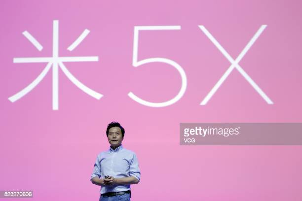 Xiao Mi CEO Lei Jun speaks at a launch event of Xiaomi new products on July 26 2017 in Beijing China Xiaomi released Mi 5X smartphone MIUI 9 mobile...