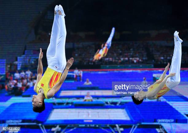 Xiao Tu and Dong Dong of China compete during the Trampoline Synchronized Men Qualification of The World Games at Centennial Hall on July 24, 2017 in...