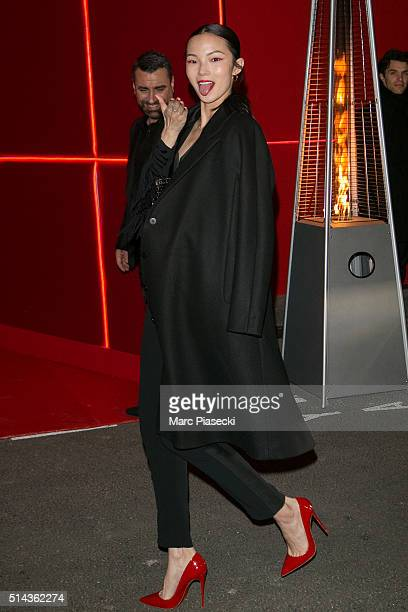 Xiao Wen Ju attends the Red Obsession party to celebrate L'Oreal Paris's partnership with Paris Fashion Week on March 8 2016 in Paris France L'Oreal...
