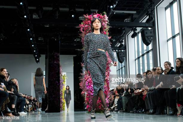 Xiao Wen Ju walks the runway at Jason Wu Fashion Show during New York Fashion Week The Shows at Gallery I at Spring Studios on February 9 2018 in New...