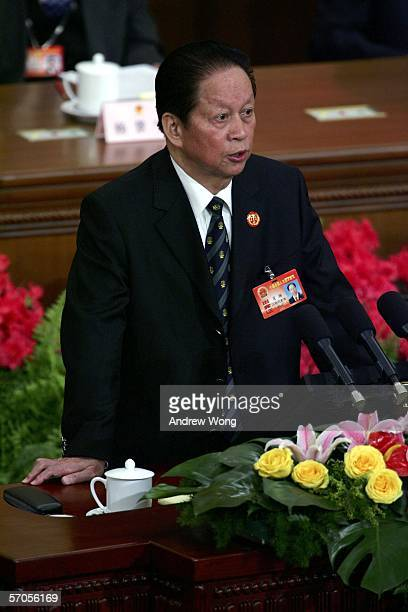 Xiao Yang, Chief Justice of the Supreme People's Court, delivers his work report during the third plenary session of the annual National People's...