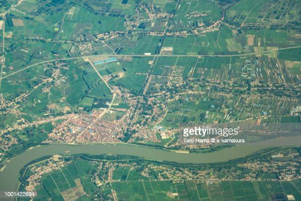 Xiaogan City in Hubei Province in China daytime aerial view from airplane