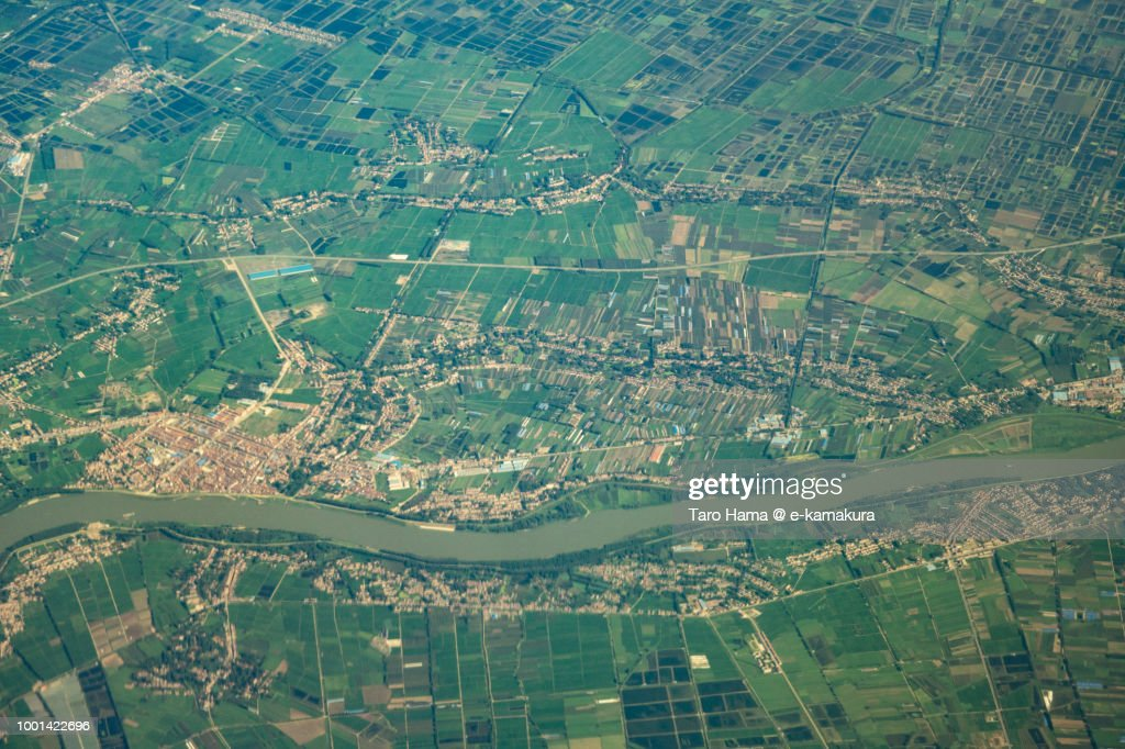Xiaogan City in Hubei Province in China daytime aerial view from airplane : Stock-Foto
