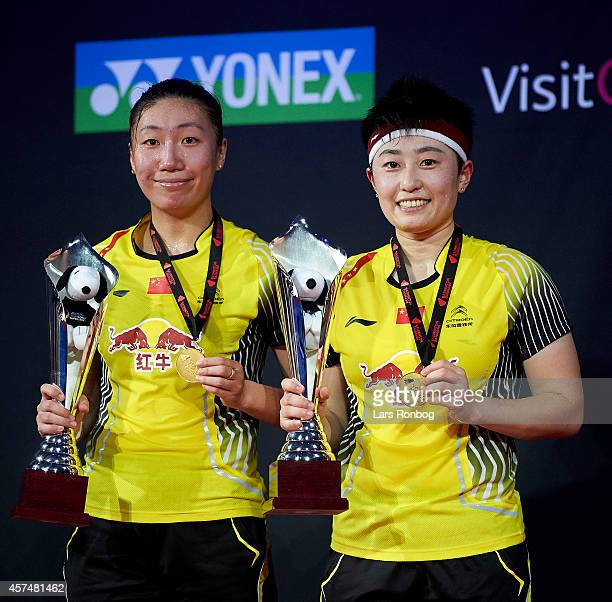 Xiaoli Wang and Yang Yu of China on the podium receiving gold after the women's double final during the Yonex Denmark Open MetLife BWF World...