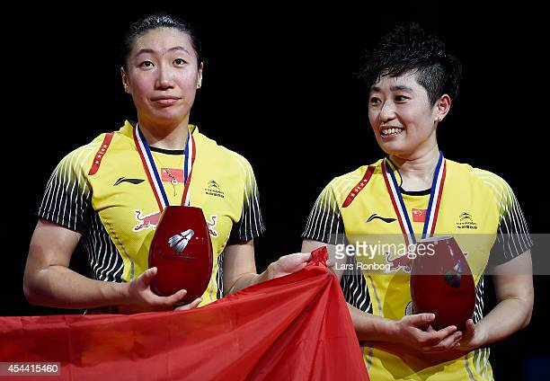 Xiaoli Wang and Yang Yu of China on the podium receiving the silver medals in womens double after the finals during the LiNing BWF World Badminton...