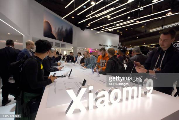 L´HOSPITALET CATALONIA SPAIN Xiaomi brand stand seen during the event at the Mobile World Congress in Barcelona